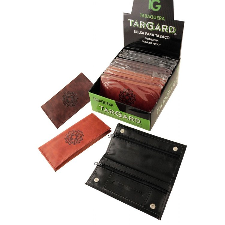 1T. Display With 12 «TG» Synthetic Leather Tobacco Bags 3 Assorted Colours