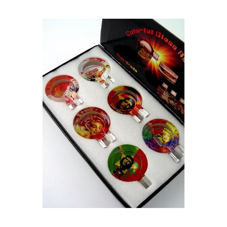 Display 6 round glass ashtray assorted hay