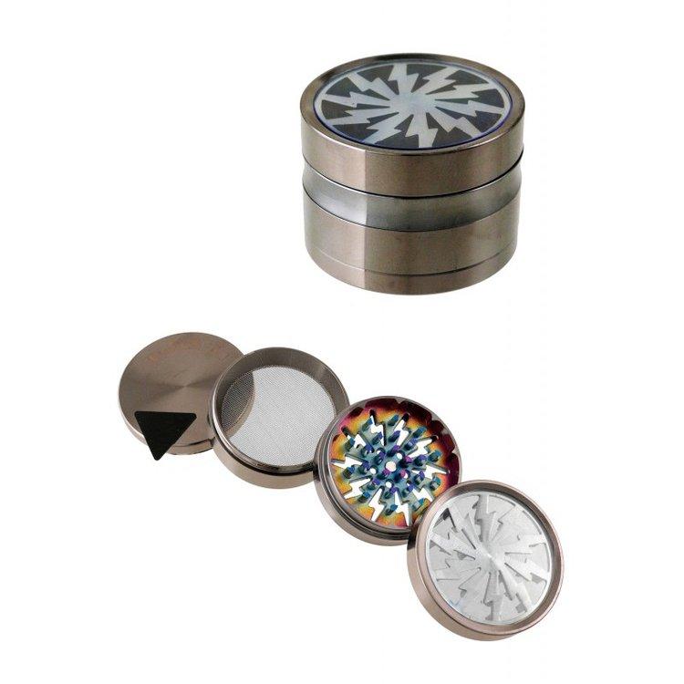 1T. Ø6,3 cm. Metallic iridesced grinder with 4 parts gun metal colour
