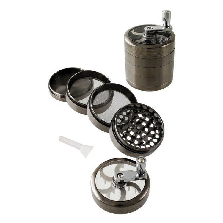 1T. Metal grinder gun metal colour with crank, 5 parts, transparent cover