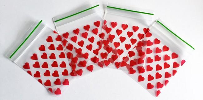 Grip Seal Printed Baggies heart (50 x 50 mm)
