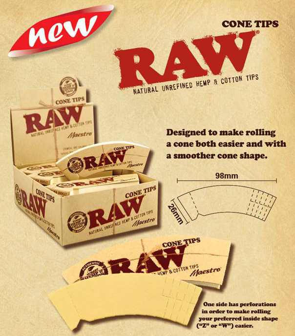 RAW CONE TIPS 24 PER DISPLAY