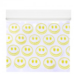 Grip Seal Printed Baggies - Yellow Smiley Faces Print (40 x 40mm)