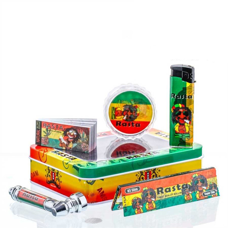 Amsterdam Rasta Leaf giftset with pipe, grinder, lighter, paper