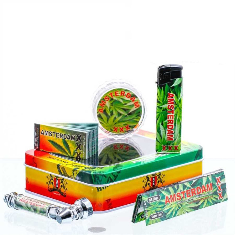 Amsterdam XXX Leaf giftset with pipe, grinder, lighter, papers,