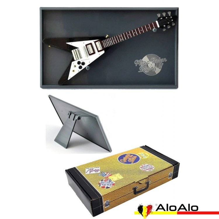 Decorative electric guitar miniature black Flying V «Marc Bolan»