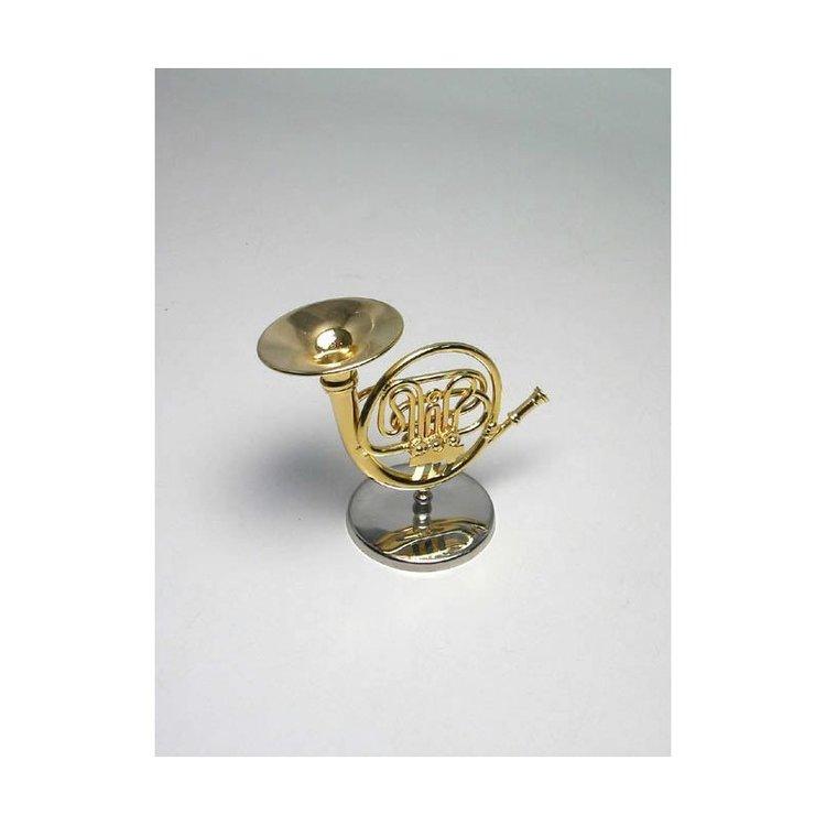 Decorative metallic miniature Horn. With metallic support & case