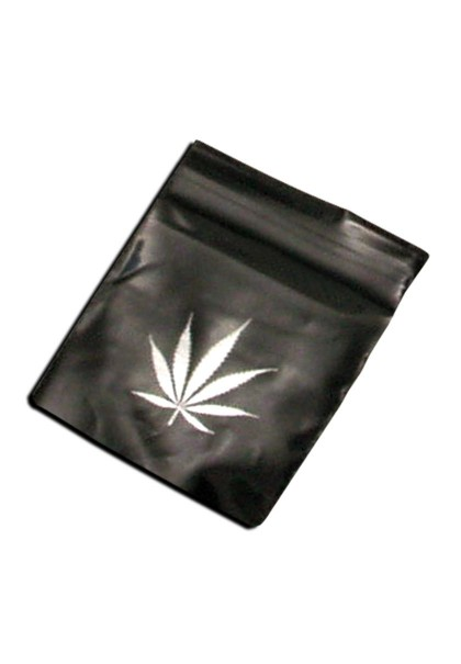 Clear Zip Bags 50µ, black, hemp leaf