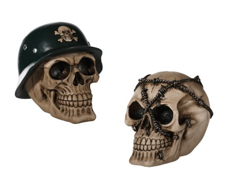 Skull with army helmet OR barbed wire money box