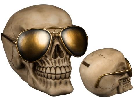 Skull with golden sunglasses money box