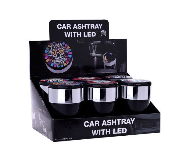Champ skull car ashtray with led
