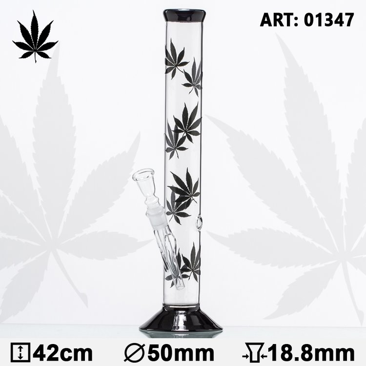 Multi black leaf glass bong