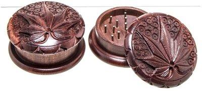 Rosewood grinder - carved leaf - 2 parts