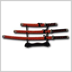 Katana zwaarden set rood