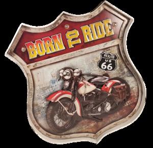 Retro metalen muurdecoratie Born to ride