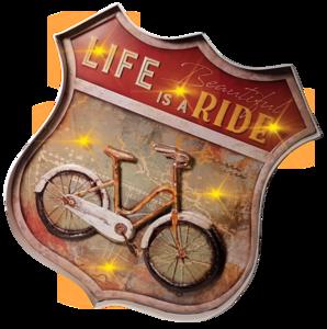 Retro metalen muurdecoratie Life is a ride
