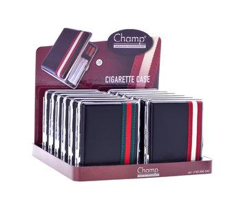 Display 12 zwarte metalen sigarettendozen met gestreepte band