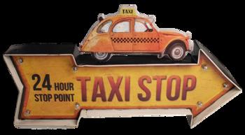 Retro metalen muurdecoratie Taxi stop