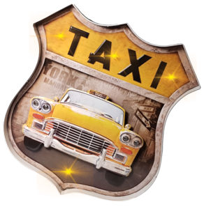 Retro metalen muurdecoratie NY taxi